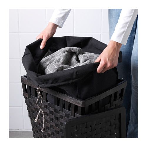 KNARRA Laundry basket with lining, black, brown