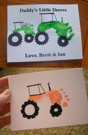 Father's Day foot print tractors. mine = top, pinterest = bottom
