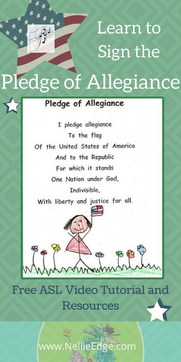 "Free video: Give children authentic powerful language to memorize, recite, perform, illustrate, and read from Nellie Edge Kindergarten Seminars. Students sign the pledge to Lee Greenwood's song for a memorable parent performance!  See ASL instruction video clip ""The Pledge of Allegiance"" Favorite ASL Songs: http://www.nellieedge.com/movie_pledge.htm.  FREE American Sign Language guide / I Can Read page included. Learn to Sign the Pledge; Free ASL resources; United States; American flag…"