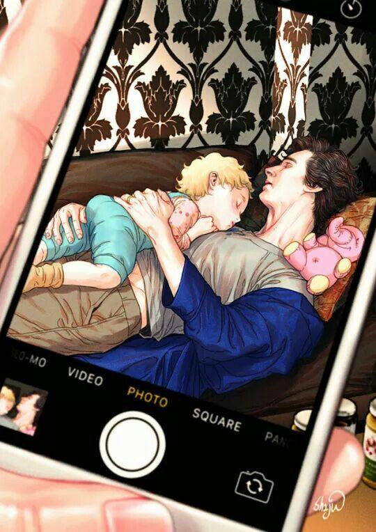 Sherlock and Little Rosamund fan art - Soooo adorable!!! >>Fantastic fan art<<< Ships Johnlock or not, this is beautiful