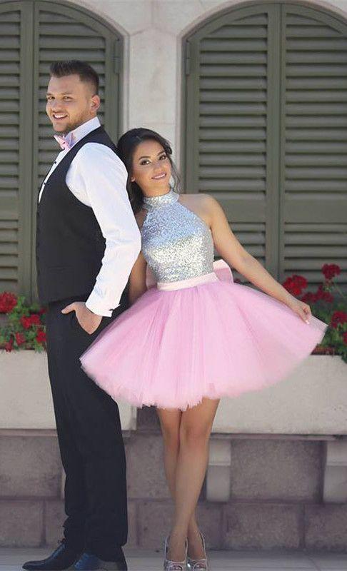 2017 homecoming dress, short homecoming dress, pink homecoming dress, sparkly sequins homecoming dress party dress