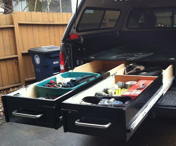 This is my truck bed drawers i made. this was not my idea, many people have made these but there is no instructable. so here it is. these drawers are great i load the heavy with tools and they still work great.STUFF YOU WILL NEED- 1 - sheet 3/4 plywood 1 - sheet 1/4 masonite 1 - sheet 1/4 plywood 4 - 1x4x 8' 7 - 1x10x 8' 3 - 1x12x 8' 4 - 1x1 square tubing 50 - bearings that fit over a 5/16 bolt- i got mine from E-Bay(Qty.50) 608-2RS two side rubber seals bearing 608-rs ball bearings24 - 1…