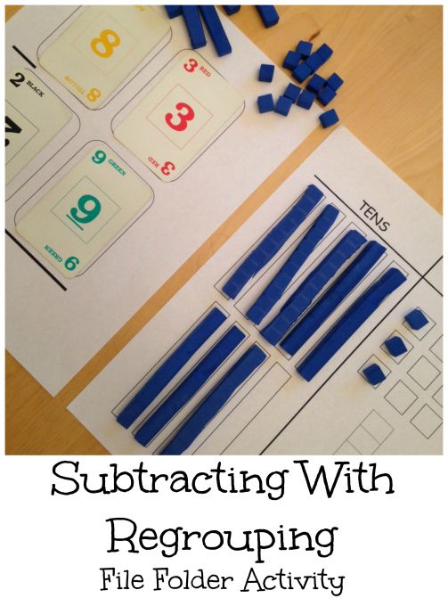 Free file folder activity using base ten blocks and a deck of cards to practice subtracting with regrouping.