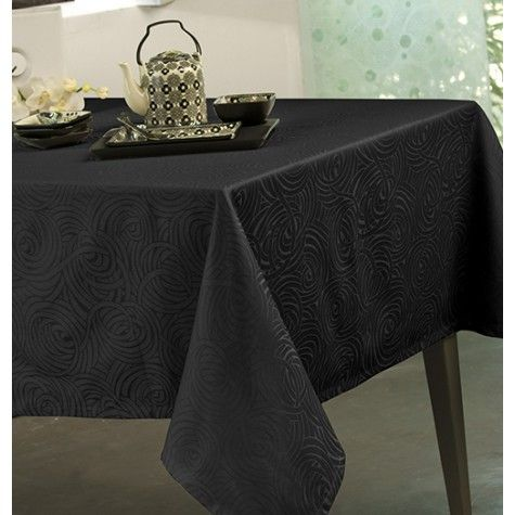nappe damass e polyester stacy noir noir et blanc s. Black Bedroom Furniture Sets. Home Design Ideas