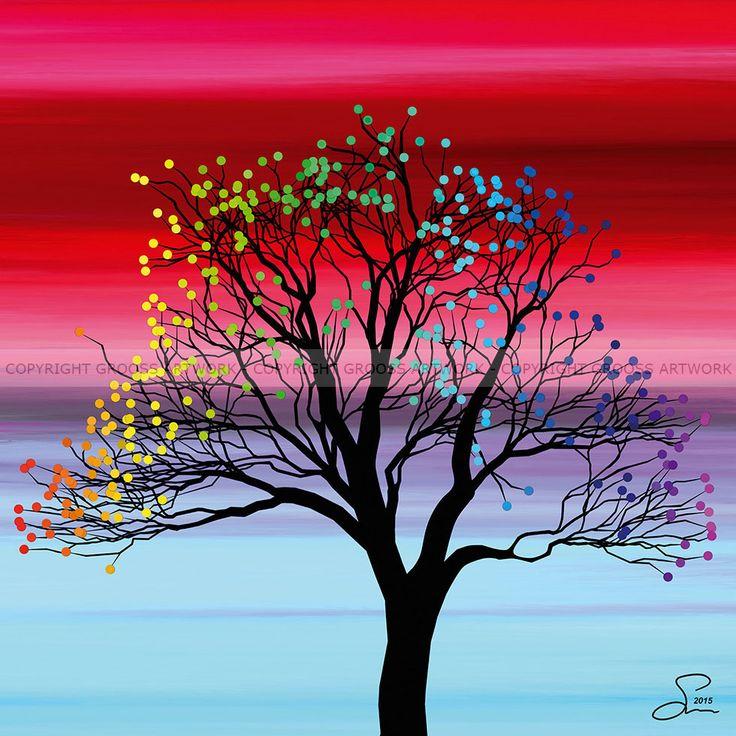 Small tree ''One'' - 30 X 30 cm - Grafisk kunst på lærred af Søren Grooss