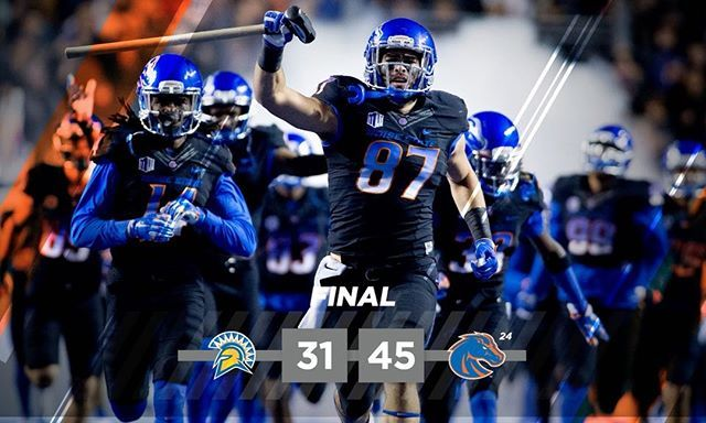 BRONCOS WIN! No. 24 #BoiseState takes down SJSU, 45-31. The Broncos improve to 8-1 overall and 4-1 in the Mountain West! #GoBroncos