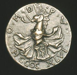 """Matteo de' Pasti. """"Sigismondo Pandolfo Malatesta, Lord of Rimini and Fano. 1446. Bronze."""