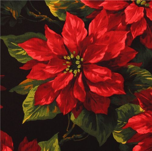 Michael Miller Christmas fabric Scarlet Poinsettia  beautiful Christmas fabric from the USA