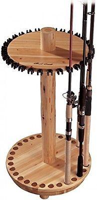 Fishing Rod Rack Pole Holder Storage Wood Stand Organizer Display Round Spinning