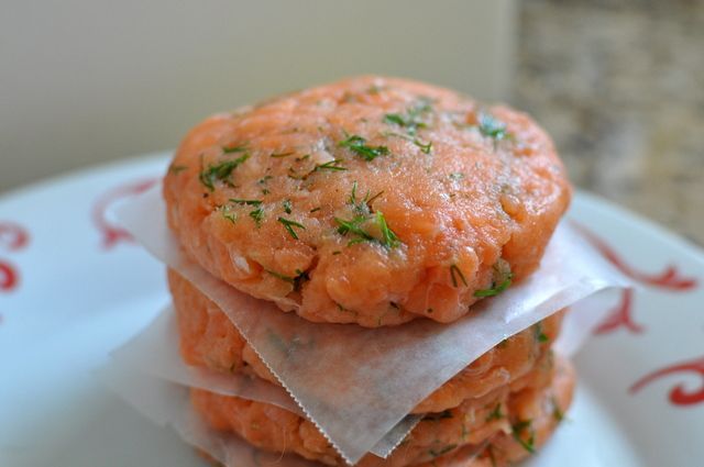 Lemon dill salmon burgers recipe from The Domestic Mama & The Village Cook. Not sure what the nutrition info is, but it sounds healthy AND delicious.