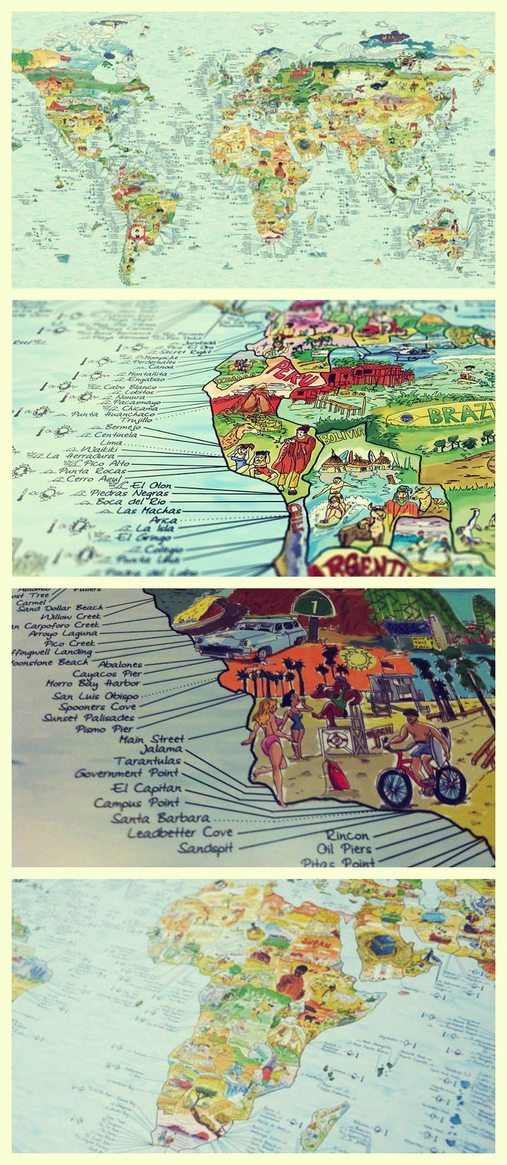 Illustrated World Surf Spot Map