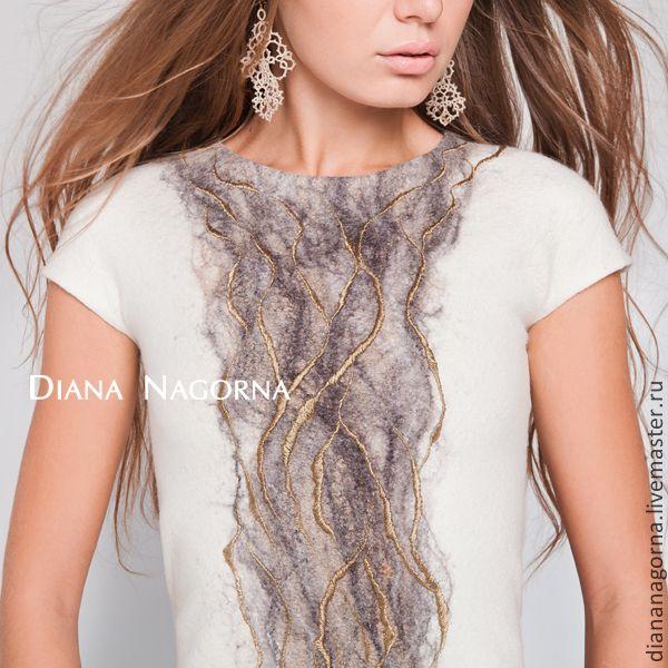 """Купить Платье из тончайшей мериносовой шерсти """"White River"""" - белый, рисунок, платье, Платье нарядное"""
