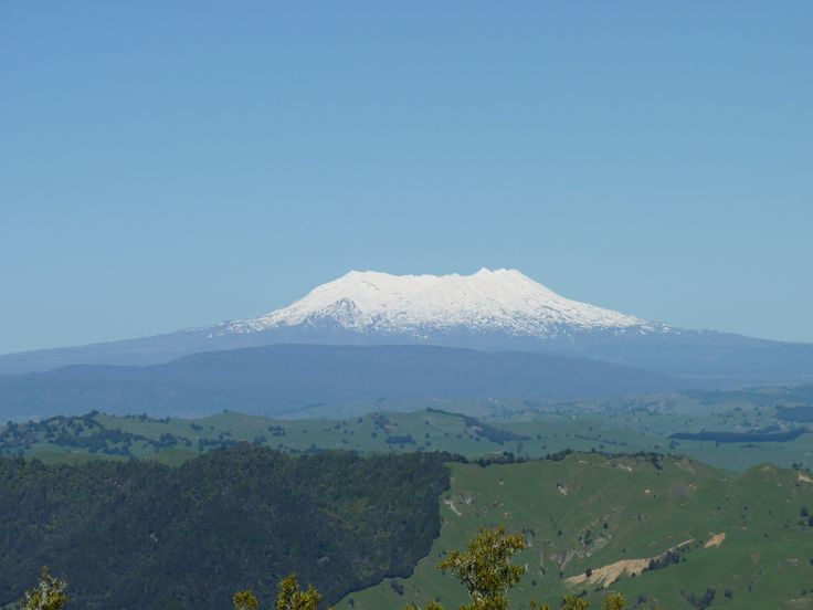The view from our back paddock - looking at Mt Ruapehu in the Central North Island of New Zealand