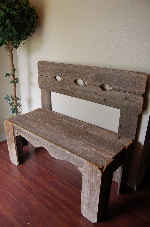 Wooden Fish Bench. Recycled Wood Furniture, Recycled Wood Bench. Cedar Bench. Lake House Furniture. Cabin Furniture via Etsy
