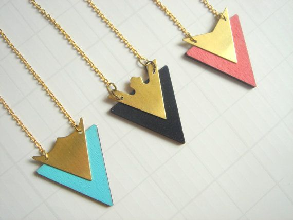 Hand Painted Geometric Necklace Wood Triangles by LiKeGjewelry