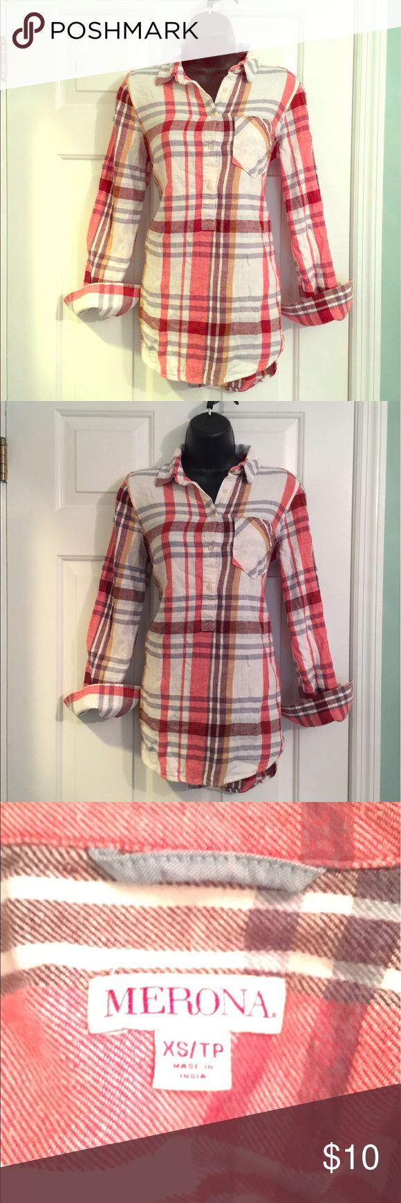 Flannel tunic EUC cotton flannel tunic. Long enough to wear with just leggings or perfect w skinny jeans. No rips, holes or stains. Pet free, smoke free home. Tops