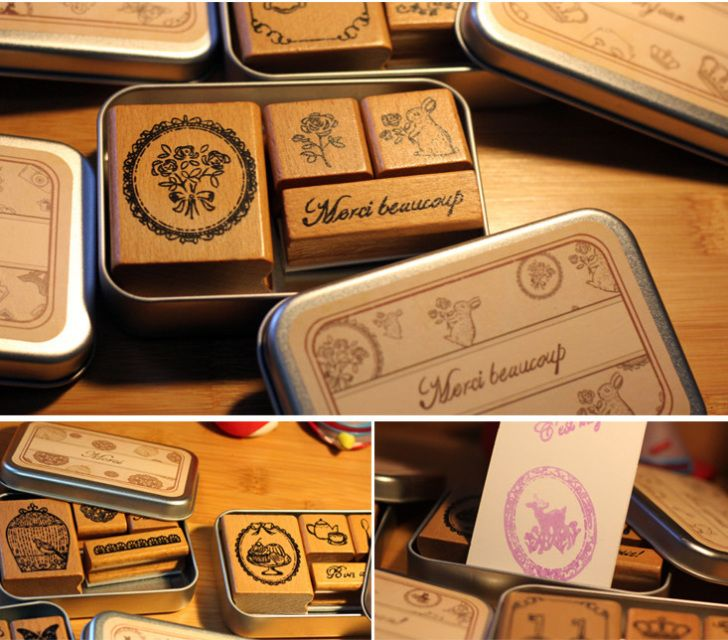 Vintage style French stamp set in tin