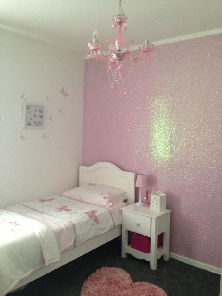 Coconut ice glitter wallcovering available at for Girls bedroom wallpaper ideas