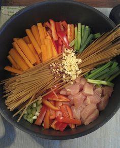 One pot wonder chicken lo mein. Add some salt/pepper or marinate the chicken for additional flavor.