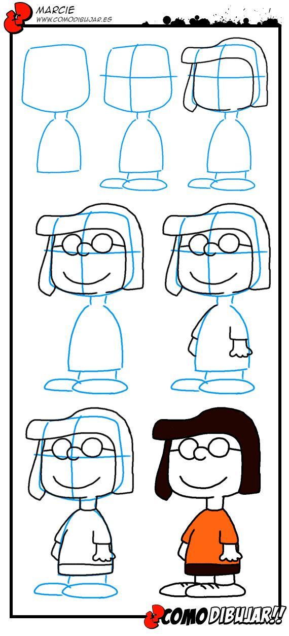 Como dibujar a Marcie. Dibujos de Peanuts.Como dibujar.