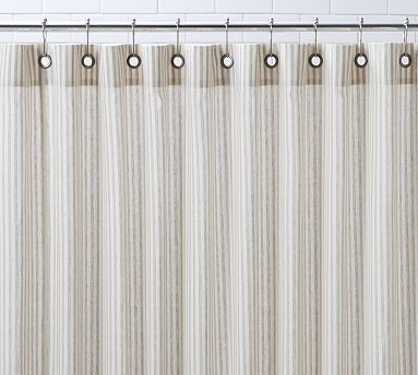 The New Shower Curtain   Vintage Ticking Stripe From Pottery Barn.use Blue  Stripe With B/w Upstairs Bath Or The Neutral With B/w