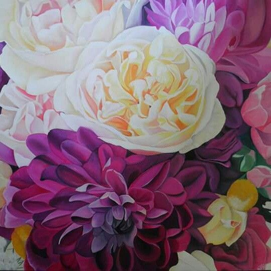 Kaitlyns bouquet, original oil painting by Tracey Hall