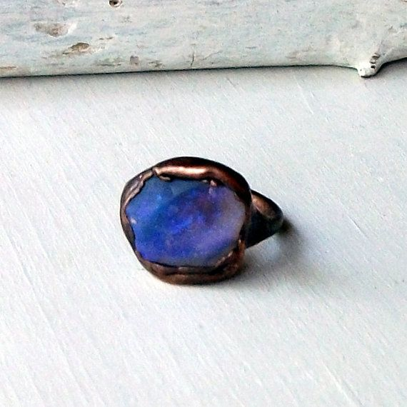Copper Boulder Opal Ring Electric Blue Purple by MidwestAlchemy, $75.50
