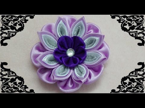 DIY kanzashi flower, how to make ribbon flower,kanzashi tutorial - YouTube