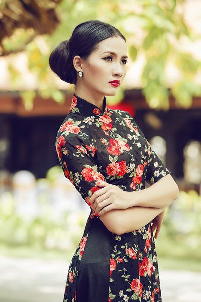 áo dài hoa đồng nội kín thân