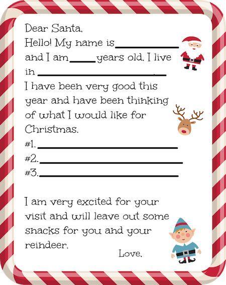 17 Terbaik ide tentang Free Printable Santa Letters di Pinterest - printable santa wish list