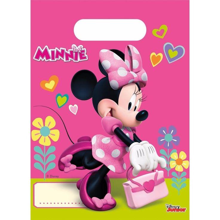 Deze plastic Minnie Mouse feestzakjes zijn verpakt per 6 stuks en hebben een afmeting van ca. 16 x 22 cm. De uitdeelzakjes komen uit de Minnie Mouse happy helpers serie.