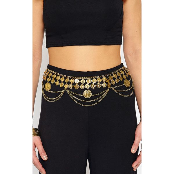 Alesha Gold Coin Chain Waist Belt ($15) ❤ liked on Polyvore featuring accessories, belts, yellow, gold waist belt, gold chain belt, waist belt, yellow belt and chain belt