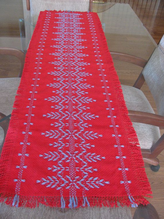 Red and Purple Table Runner Swedish Weaving by rdrunnercreations