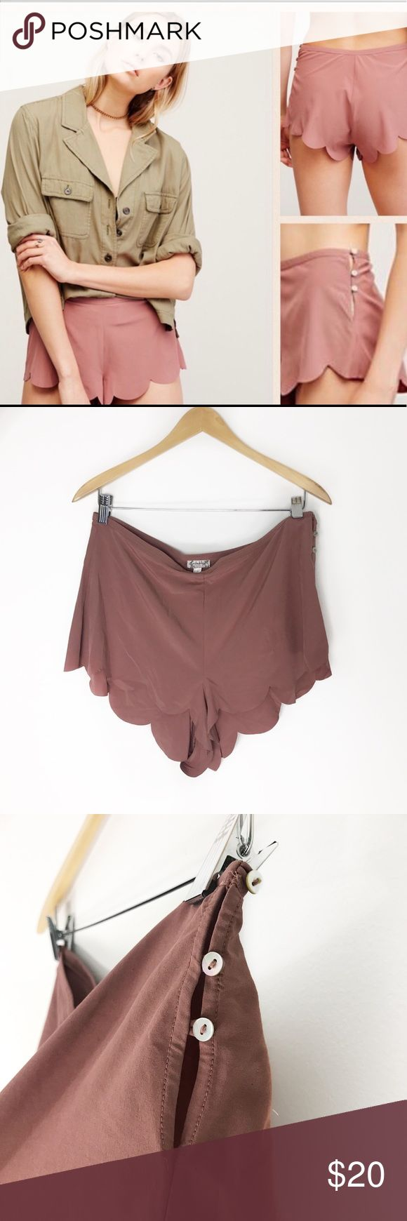 Free people dusty rose scalloped shorts New! Doesn't really have retail tags (online order) but has the button and extra thread attached. Size medium scalloped edge booty shorts from intimately Free People. No trades or holds. Free People Shorts