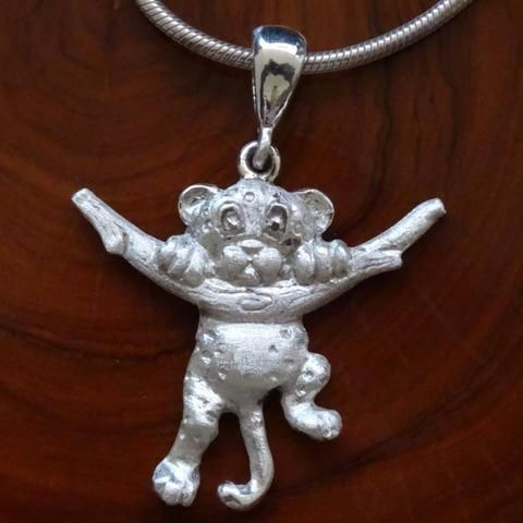 Baby Leopard Full Body on Tree Trunk Pendant. In Sterling Silver or Gold. GoodiesHub.com