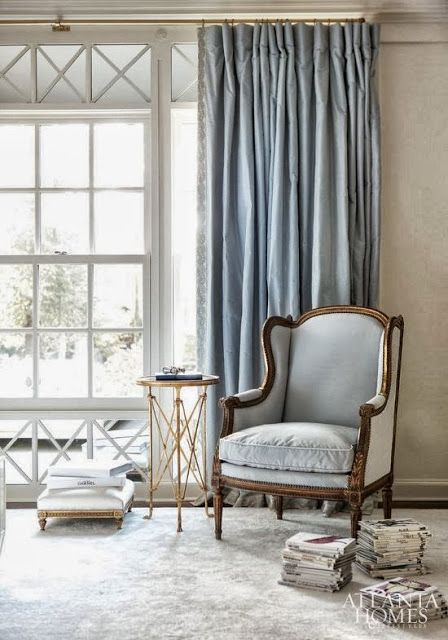 Gray-blue silk curtains with trim - Suzane Kasler