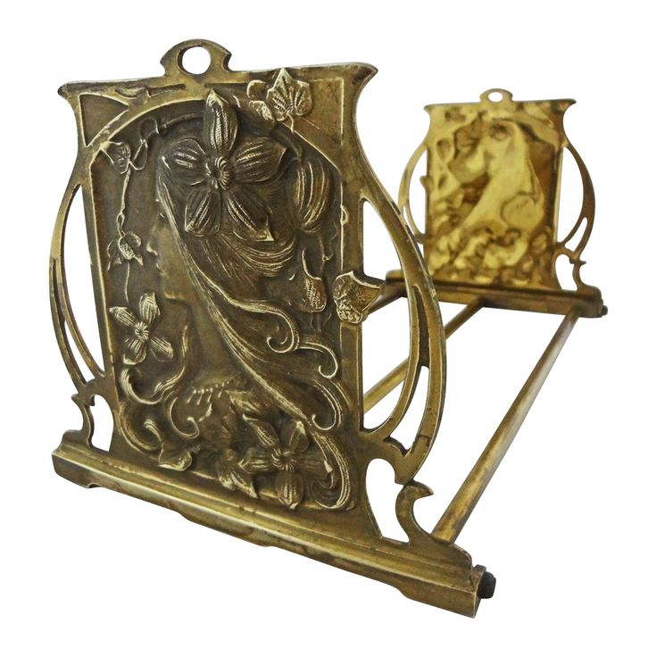 Art Nouveau Figural Bronze Bookends / Book Rack Maiden SOLD