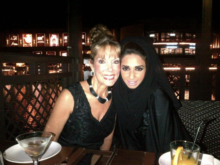 """The Famous Michele Riggi the Hollywood """"socialite"""" and Mother of the handsome Hollywood Actor Chris Riggi at Rouge.  Michele Riggi is a dear family friend, while she was visiting Dubai, we caught up with her.  She Visited Rouge and we had a fun time dressing her, she looked graceful and beautiful in her Rouge Abaya.    We enjoyed our time together, she is a beautiful, fun, ambitious woman that is so passionate and full of life.    Rouge ♥ Michele and we really missed her"""