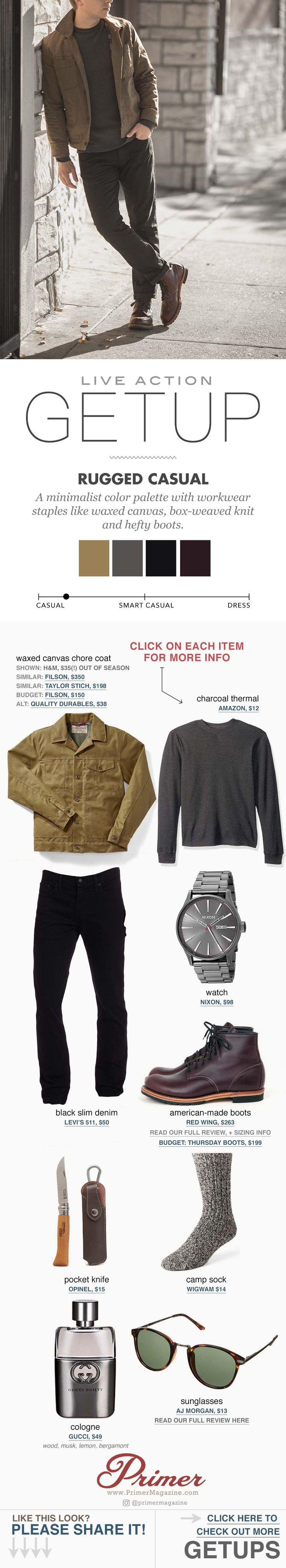 Style for guys. Fall rugged fashion with black jeans red wing boots #primer #getup