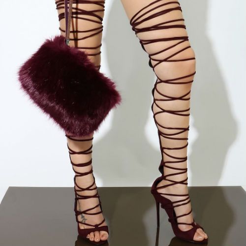 Thigh High Lace Up Gladiator Heels