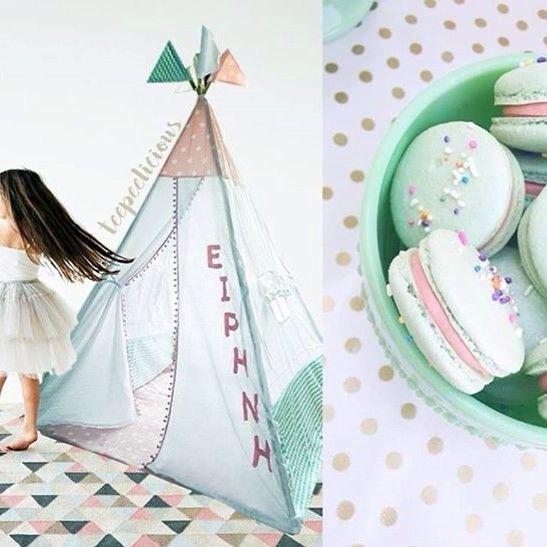 Personalize your #teepeelicious #hamdmade #teepee #unique #nurserydecor #kidsroominspo #decoration #girly #customade #macaron #irene #yourname #pink #mintgreen #dance #kids #happykids #tipi #glamping