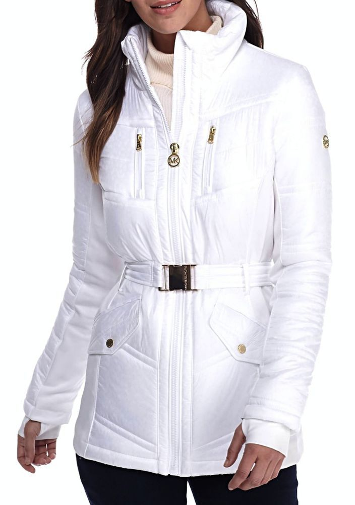 Michael Kors Belted Active Womens Puffer Coat Jacket White Size Large NWT #MichaelKors #Puffer
