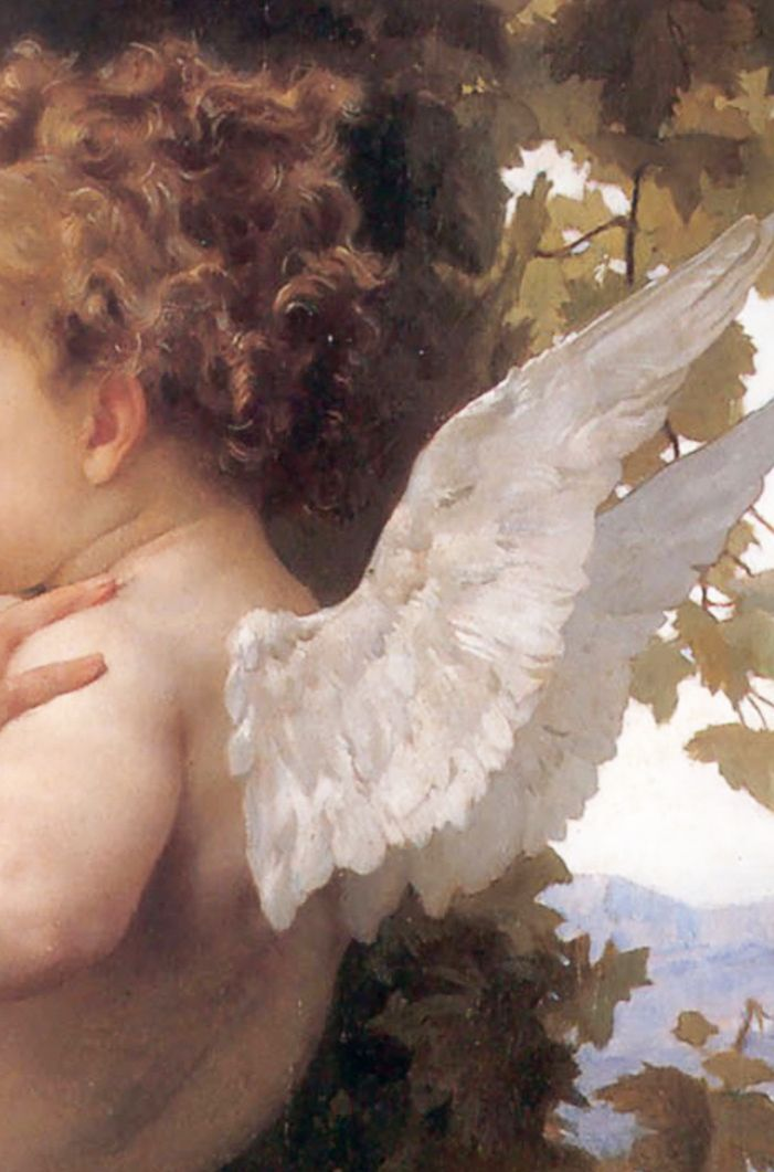 Detail of a A Young Girl Defending Herself Against Eros (1880) William-Adolphe Bouguereau