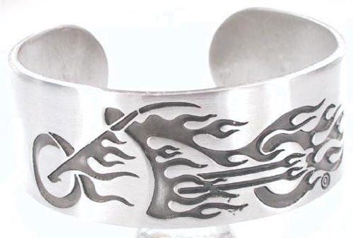 Flaming Bike Fire Motorcycle Pewter Cuff Bracelet Dan Jewelers. $17.87. Satisfaction guaranteed.. Hypoallergenic. Dan Jewelers has tens of thousands of positive feedbacks across the internet.. Good value. Does not tarnish. Save 28%!