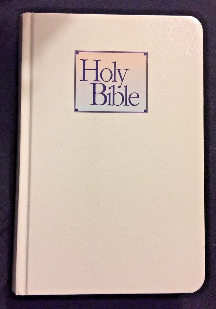 """Baby's First Bible King James Version Nelson 112C White Hardcover Bible 7"""" New  
