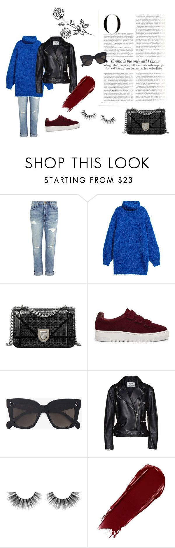 """Blue knit"" by idahedbom on Polyvore featuring Current/Elliott, Vanity Fair, Sandro, CÉLINE, Acne Studios and Velour Lashes"