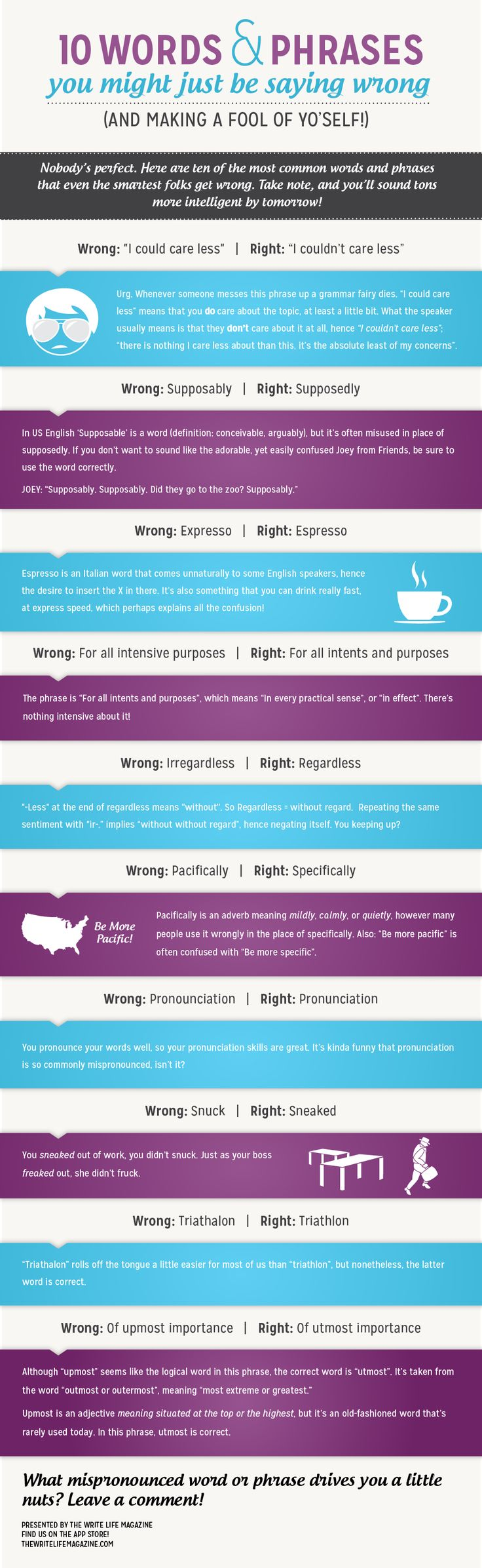 10 Words And Phrases You're Probably Saying Wrong.  Love the explanation of freaked/fruck. LOL!