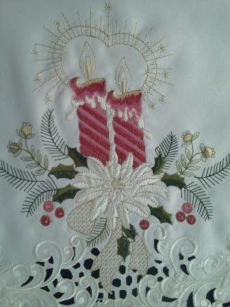 36 Christmas Holiday Square or Table Topper Embroidered with Victorian Burgundy/Mauve Candles and Poinsettia by Doily Boutique. $21.30