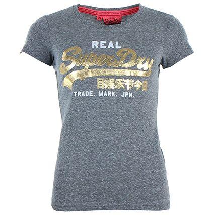 Superdry - Tee Shirt Femme Vintage Logo Duo Entry Gris Anthracite Doré - LaBoutiqueOfficielle.com