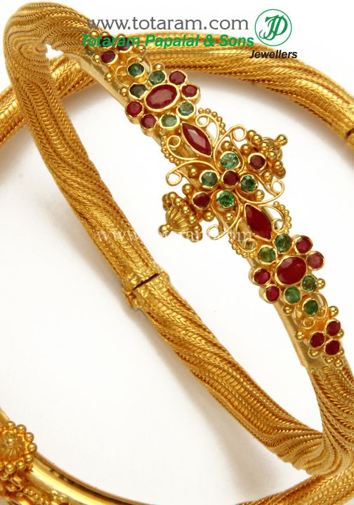 22K Fine Gold Kada with Ruby & Emerald - Set of 2 (1 Pair). GK424 - Indian Gold Jewelry from Totaram Jewelers